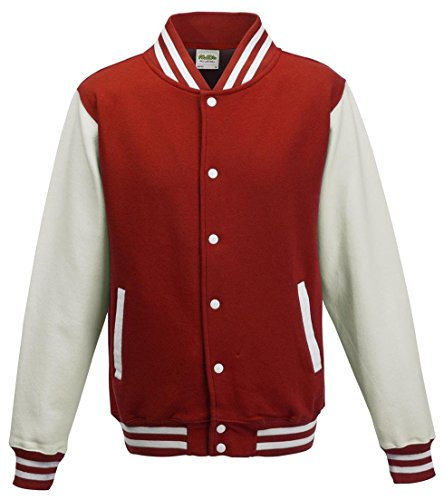 Just Hoods by AWDis Varsity Jacket Blouson, Rouge (Fire Red/White), X-Large Homme
