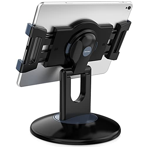 "AboveTEK Retail Kiosk iPad Stand, 360° Rotating Commercial Tablet Stand, 6-13.5"" Ipad Mini Pro-Business Tablet Holder, Swivel Design for Store POS Office Showcase Reception Kitchen Desktop (Black)"