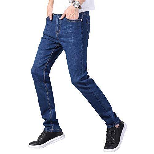 Pantalones Vaqueros para Hombre Pantalones Vaqueros Ajustados elásticos Retro Verano Versión Regular Europea y Americana Pantalones de Mezclilla Delgados y Rectos 30