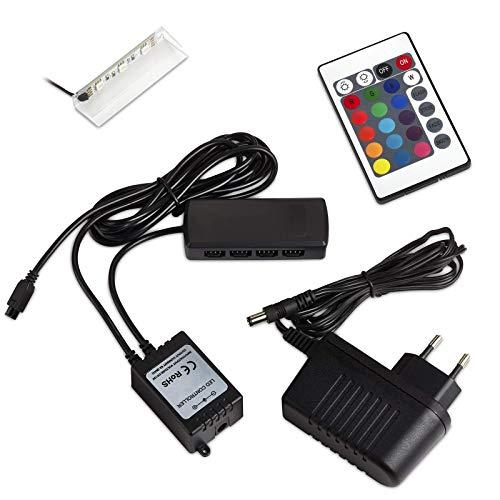 1 x SO-TECH® RGB DEL/LED lampe pour vitres/vitrines incl. télécommande et multi fonction de changement de couleur (Classe d'énergie A++)