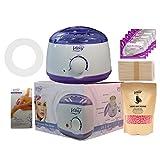 Scaldacera per la depilazione, kit di cera professionale portatile, per la cera elettrica, con fagioli di cera duri e applicatore di cera, per donne e uomini (rosa, 500 g)