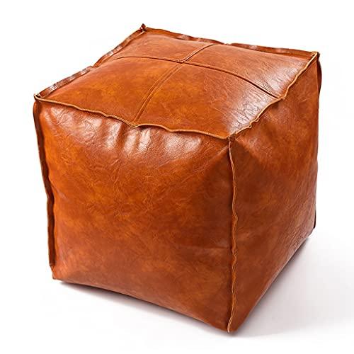 RenShiMinShop Pouf Ottoman Kunstleder Puff Fußhocker Square Poufs Mit Reißverschluss Bohnenbeutel Bodenkissen Sofa Hocker Für Wohnzimmer (Color : Orange, Size : 45 * 45 * 45cm)