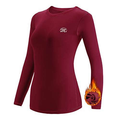 Meetwee - Camiseta térmica para mujer, manga larga, de compresión y base, ropa interior térmica para deportes de esquí y running