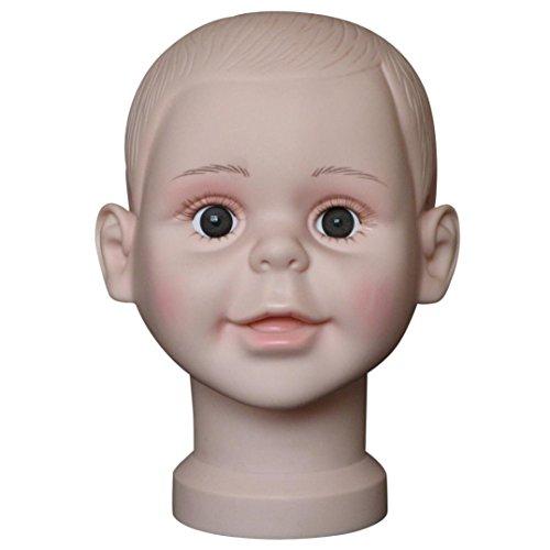 Tefamore Simulation Kind Kopf Perückenkopf Schaufensterpuppe Schaufensterkopf, PVC Make up Praxis Modell Kopf,Dummy-Perücke Brille Hut Display Ständer Große