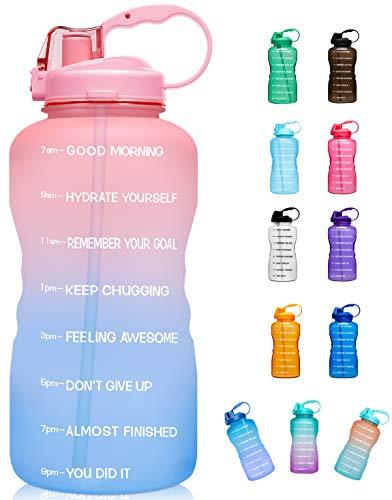 Giotto Große Wasserflasche mit Zeitmarkierung und Strohhalm, auslaufsicher, BPA-frei, für Fitness, Fitnessstudio und Outdoor-Sportarten, G2-Pink/Blau Farbverlauf