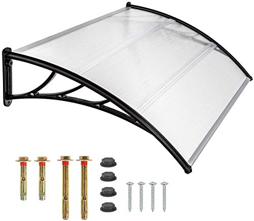 Vordach Haustür Überdachung Haustürvordach Türvordach Pultbogenvordach Hohlkammer stegplatten transparent Sonnenschutz Regenschutz für draußen schwarz (120)