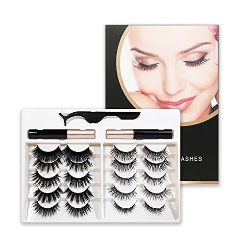 Women Beauty No Glue Need Reusable Mix Style Magnetic Eyelashes with Eyeliner Kit 10 Pairs Magnetic Eyelashes Kit Natural Look 2 Magnetic Eyeliner(01)