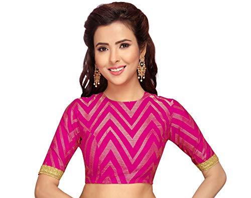 Studio Shringaar Women's Benaras Brocade Saree Blouse with Elbow Length Sleeves (Hot Pink, 40)