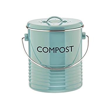 Typhoon Summer House Blue Compost Caddy, 2.6-Quart Capacity