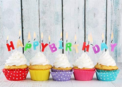 EdCott 7x5ft Sweet Baby Cake Smash Telón Fondo Feliz cumpleaños Vintage Rayas Tablero Madera Magdalenas con Velas Fondos para la fotografía Niños Fiesta Chicas Vinilo Fondo Foto Estudio Accesorios