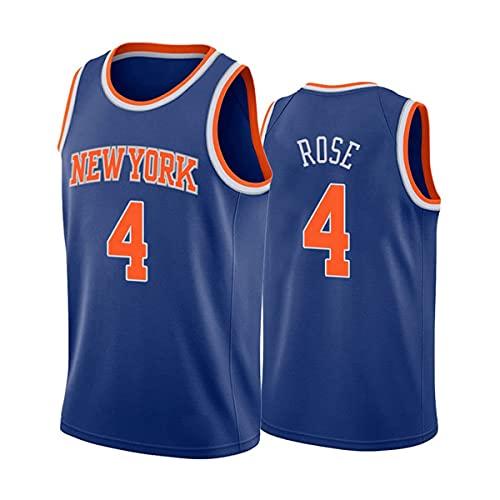 YMFZYM Maglia da Uomo, Maglia NBA New York Knicks #4 Derrick Rose Classic, Canotta Sportiva Senza Maniche per Fan del Basket Unisex,Blu,M
