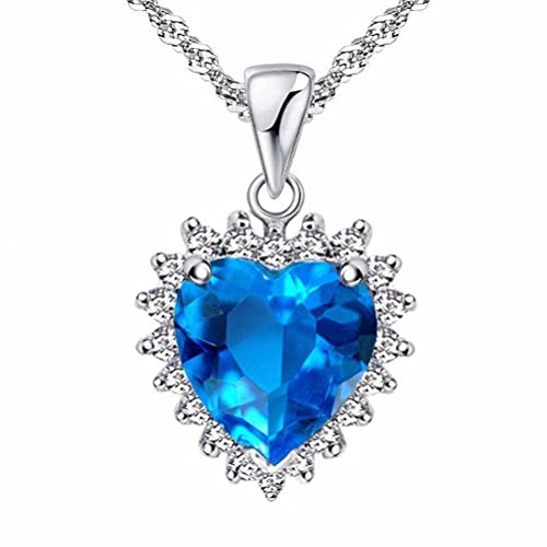 TYERY Collar de Regalo para Mujer Collar de Plata Esterlina S925, Colgante de Corazón de Océano Collar de Clavícula Femenina de Moda, Joyas de Plataocéano azul, Plata 925