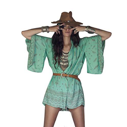Cardigans Mujer Kimono 2019 Nuevo SHOBDW Pareos Casual Gasa Cover Up Bikini Playa de Verano Cardigans Mujer Flores Boho Suelto Sexy Camisa de Protección Solar(Verde,M)