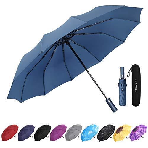 YumSur Paraguas Compacto y Resistente al Viento, Paraguas Plegable con Apertura y Cierre Automático, Tejido de Teflón 210T y con 12 Varillas Reforzadas,para Hombres y Mujeres