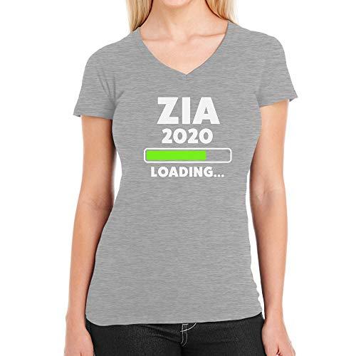 Shirtgeil Zia 2020 Loading Idea Regalo per Le Future zie Maglietta Donna Scollo a V Medium Grigio