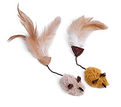 Petface Feather Tail Mice Cat Toy (Pack of 2)