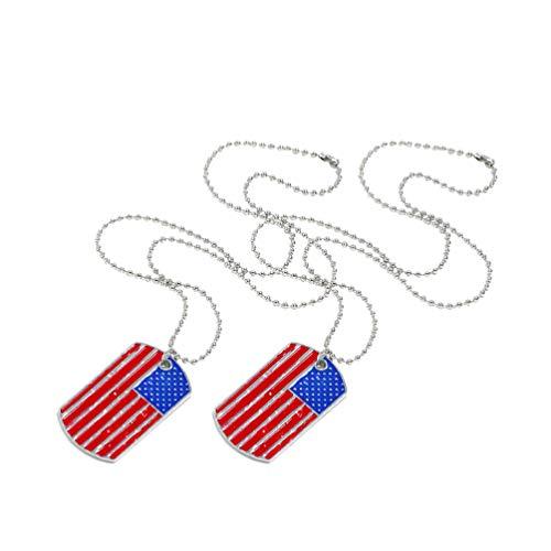VALICLUD 2 Piezas Collares con Etiqueta de Perro de Bandera Americana Colgantes de EE. UU. Aleación Día de La Independencia Collares Patrióticos Nacionales Collares Adornos de Regalo de Recuerdo