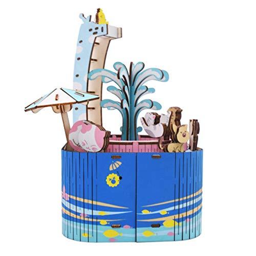 Muziekdoosjes 3D houten puzzel speelgoed-DIY Model Craft Kit Music Box Decorating Wood Ornamenten Music Box Decor (Color : C, Size : Free)