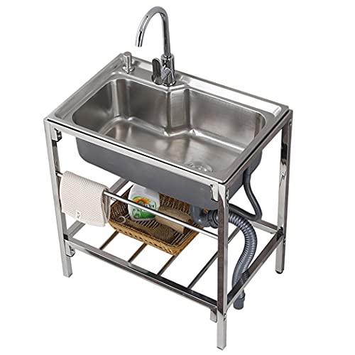 JPSHBA Fregadero de Cocina,Fregadero para Uso General, estación de Lavado para Fregadero de lavandería con Grifo Flexible, para lavandería de Cocina de Garaje