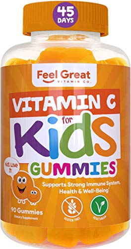 Feel Great Vitamin Co. Vitamin C Gummies for Kids | Supports a Strong Immune System and a Healthy Heart | Plant-Based, Gluten Free, Non-GMO, Pectin Based | 250 mg of Vitamin C | 90 Gummies