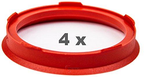 4 x Zentrierringe 67.0 mm auf 57.1 mm rot / red