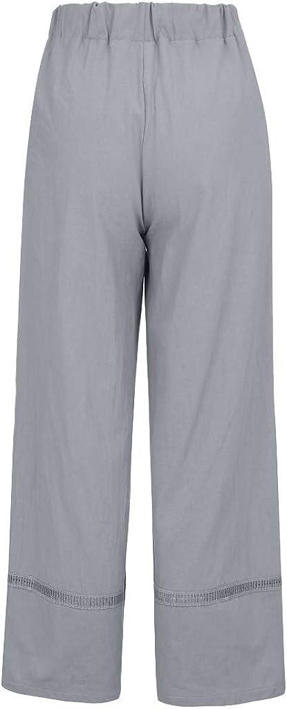 Fitfulvan Womens Elastic Waist Casual Lounge Pajamas Jogger Yoga Pants Cotton Plus Size Pocket Wide Leg Trousers