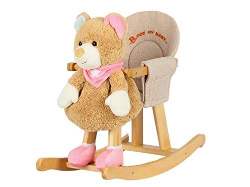 Dunjo® Baby Schaukelbär | Schaukeltier Bär Pink Rosa Braun | Für Kinder ab 1- 3 Jahre | Weich Plüsch