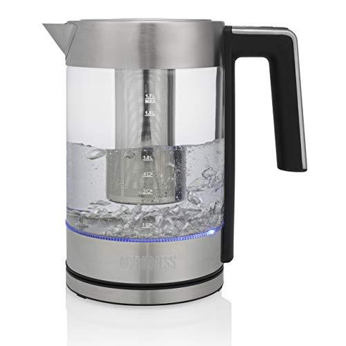 Princess 236042 Hervidor de agua Deluxe London, capacidad de 1,7 L, cristal y acero inoxidable, 2200 W