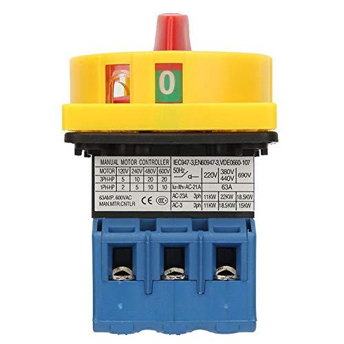 Jeanoko Interruptor disyuntor de Carga 3 Polos 2 Posiciones Sin Descarga eléctrica 40A / 63A Sin deformación Larga Vida útil Sin corrosión Industrial para máquinas Herramienta(63A)