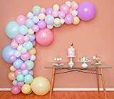 Mixed Sizes – Pastel Balloon Garland Kit & Balloon Arch – Easter Spring Rainbow Party Balloons - Small and Large Balloons, Mint Green, Purple, Yellow, Pink and Blue Balloons, Unicorn Ballon fr Parties
