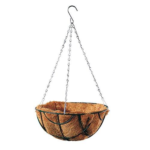 Pflanzen Kölle Oxford Basket mit Kette und Kokoseinsatz 35 cm, Blumenampel aus kunststoffbeschichtetem Draht Ø 35 cm, mit silberner Kette, Hanging Basket mit Kokoseinsatz