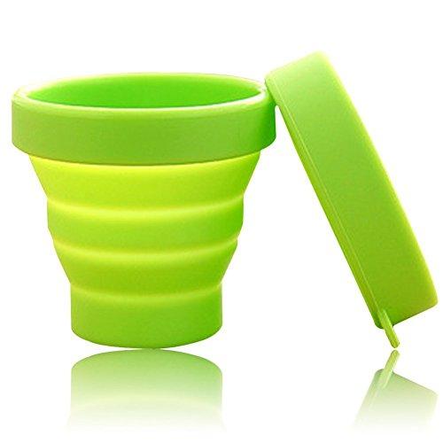 asentechuk® Portable souple en silicone pliable camping voyage pliable tasse extérieur Gobelet à Dents, Silicone, vert