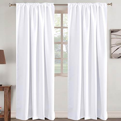 """Window Treatment Curtains Insulated Thermal White Curtains Blackout Back Tab/ Rod- Pocket Room Darkening Curtains, Pure White, Solid Curtains for Living Room, 52"""" W x 96"""" L inch (Set of 2 Panels)"""