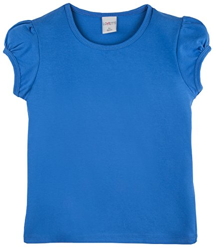 Lovetti Girls' Basic Short Puff Sleeve Round Neck T-Shirt 5 Royal Blue