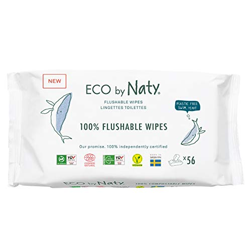 Eco by Naty Flushable Baby Wipes, 504 count, Plant based Compostable Wipes. 0% plastic. No nasty chemicals., White, Flushable unscented, 42 Count (Pack of 12)