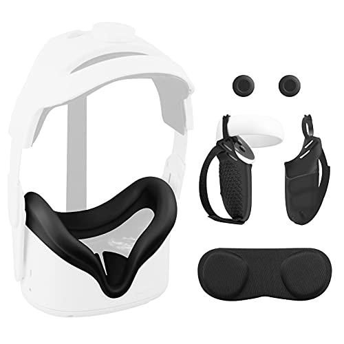 Vakdon 4en1 Set para Oculus Quest 2, VR Silicone Cover + Cubiertas de Controlador, con Tapa de la Lente y Tapa de Pulgar y Correa de Muñeca Ajustable, Funda Protectora Anti-Caída Antideslizant