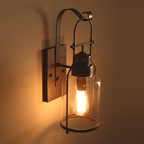 American Village Style Industriel Antique LOFT Chambre à coucher Lit de fer Retro Lampe de mur en verre