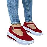 MYTY Mocasines estilo retro de color sólido con punta redonda para mujer, zapatos casuales para caminar, con hebilla de plataforma baja y puntera redonda, color rojo_39