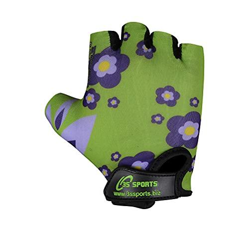 Gepolsterte Fahrradhandschuhe für Kinder, Jungen, Mädchen, BMX-Fahrradhandschuhe (grüne Blume, 3XS)