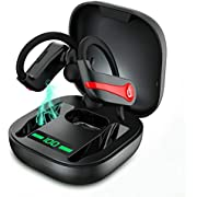 Wireless Headphones Sports Bluetooth 5.1 Earphones IP7 Waterproof Wireless Earbuds with Charging Case 40H Playtime Immersive Bass Sound Headphones In Ear Noise Cancelling Mic for Gym Workout Running