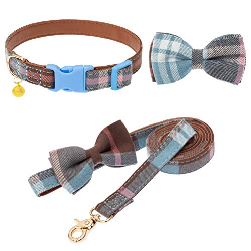 Bow Tie Dog Collar and Leash Set - Classic Plaid Adjustable Cute Dogs Collars...