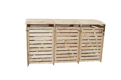 Mülltonnenhaus für drei 240 Liter Tonnen in Holz natur