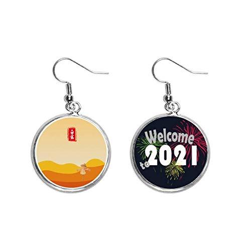 Runde weiße Tau-Ohrringe, 2021, solarbetrieben, solarbetrieben, Schmuck
