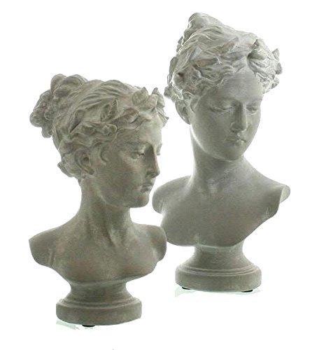 Klocke Dekorationsbedarf Büste auf Fuß - 1 Stück (Links) - Höhe 29cm - Antik Look - Material: Polyresin - Weiß/Grau - Hochwertige Verarbeitung