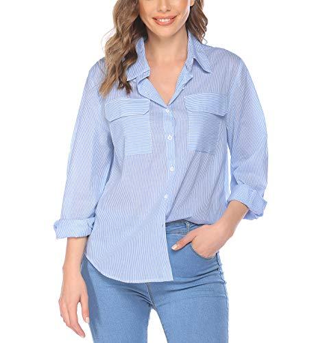 Blusa Parabler a rayas parte superior cuello en V suelta, casual, manga larga, camiseta túnica con botones elegante camiseta de manga larga para playa azul claro M