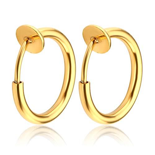 JSDDE Piercing 316L Edelstahl 12G Fake Nasenpiercing Stecker Lippe Septum Nasenring Ohrringe Tragus Ring Helix Knorpel Stab Hoop Ring Creolen Clip-On Piercing Gold 10mm