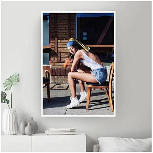 VCFHU Ragazza con Perla Orecchini Tela Quadri retrò Figura Poster Stampe Divertente Parete Arte Moderni Soggiorno Camera Camera da Letto Casa Decorazioni Quadro 50 X 70 Cm No Cornice