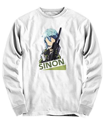 Yinz Hombre Long Sleeve Shirt Sword Art Online Impresión del patrón Blanco Medium
