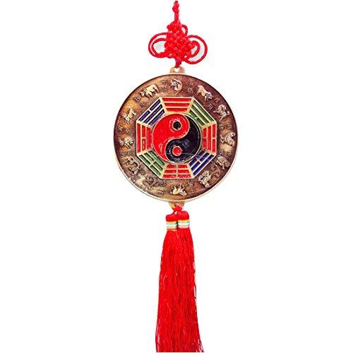 Bon augure chinois Fengshui Yin Yang BA Gua Miroir charme en relief avec cinq Trésor et symboles de 12 chinois zodiacs-l