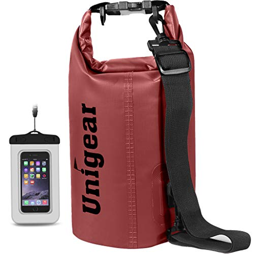 Unigear 600D Dry Bag 2L/5L/10L/20L/30L/40L Waterproof Sack with Phone Dry Bag and Long Adjustable Shoulder Strap for Boating/Kayaking/Fishing/Rafting/Swimming/Camping/Snowboarding (Red, 20L)